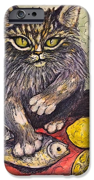 Still Life With Fish iPhone Cases - Dont Touch My Lunch iPhone Case by Rae Chichilnitsky