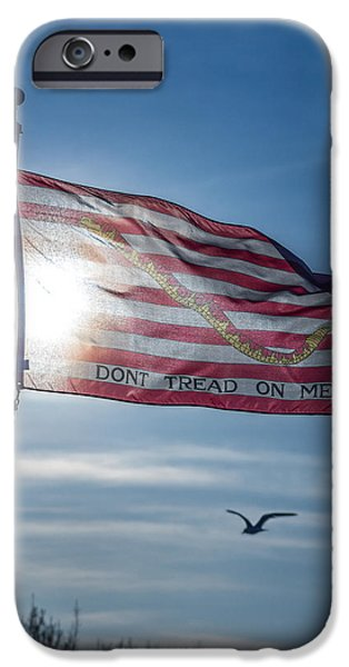 America First Party iPhone Cases - Dont Tread On Me iPhone Case by Chris Bordeleau