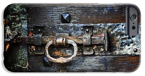 Wooden Door iPhone Cases - Door Latch iPhone Case by Joana Kruse