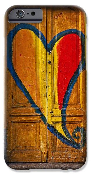 Wooden Door iPhone Cases - Door With Heart iPhone Case by Joana Kruse