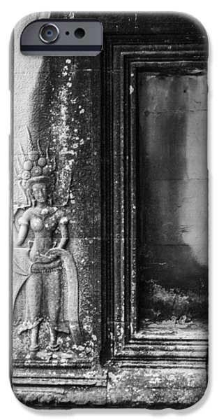Hindu Goddess iPhone Cases - Doorway Carvings at Angkor iPhone Case by Nomad Art And  Design