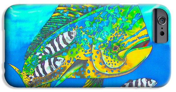 Sea Tapestries - Textiles iPhone Cases - Dorado and Pilot Fish iPhone Case by Daniel Jean-Baptiste