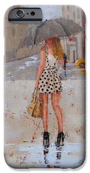 Gray Hair Paintings iPhone Cases - Dottie iPhone Case by Laura Lee Zanghetti