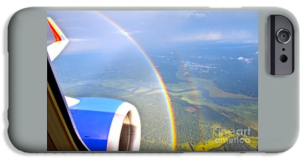 Storm iPhone Cases - Double Rainbow From the Air iPhone Case by Joan Kaplan