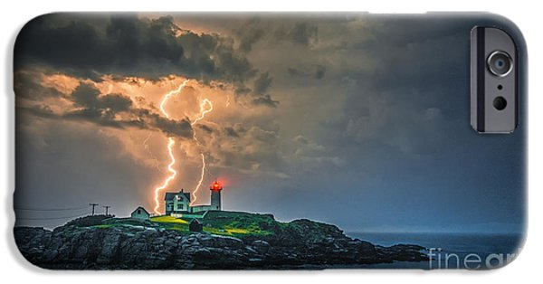Cape Neddick Lighthouse Photographs iPhone Cases - Double Strike iPhone Case by Scott Thorp