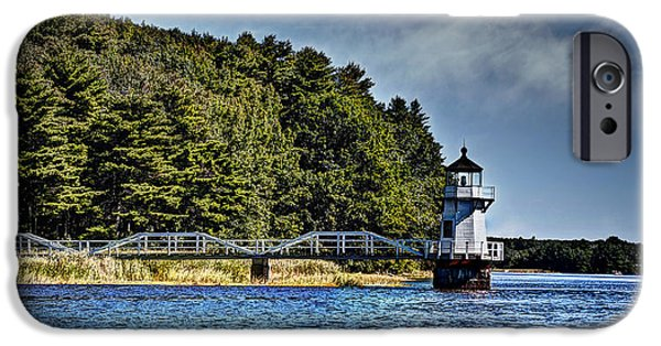 Mid-coast Maine iPhone Cases - Doubling Point Lighthouse iPhone Case by Deborah Klubertanz