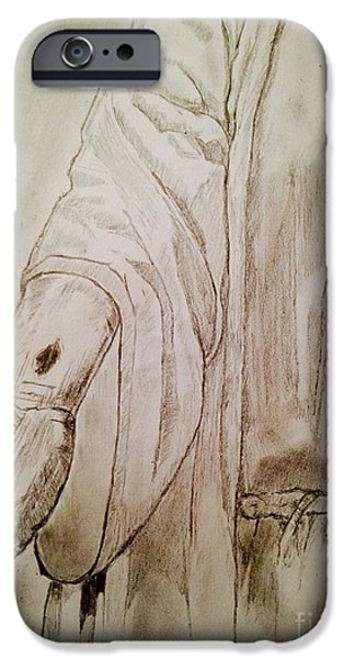 Jesus Drawings iPhone Cases - Doubting Thomas iPhone Case by Navroz  Raje
