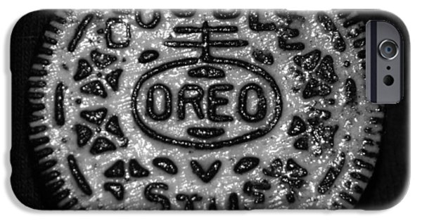 Oreos iPhone Cases - DOULBLE STUFF OREO in BLACK AND WHITE iPhone Case by Rob Hans