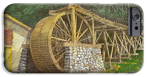 Grist Mill Drawings iPhone Cases - Dowlin Water Wheel iPhone Case by Jack Pumphrey