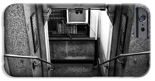 Downtown Stairs iPhone Cases - Down in Downtown mono iPhone Case by John Rizzuto