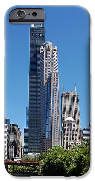 Downtown Chicago Skyline - View Along the River iPhone Case by Suzanne Gaff