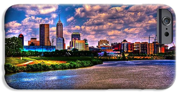 Surreal Landscape iPhone Cases - Downtown Indianapolis Skyline iPhone Case by David Haskett