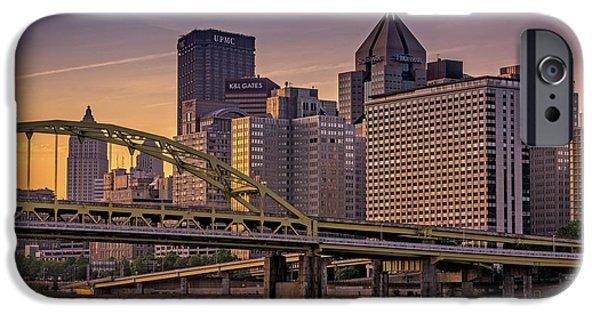 Roberto iPhone Cases - Downtown Steel iPhone Case by Rick Berk