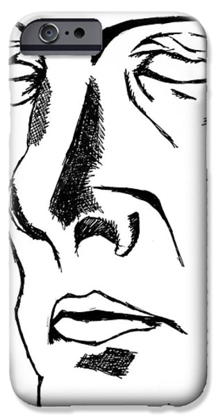 Character Portraits Drawings iPhone Cases - Dr Manhattan bw iPhone Case by Jera Sky