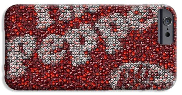 Bottlecaps iPhone Cases - Dr. Pepper Bottle Cap Mosaic iPhone Case by Paul Van Scott
