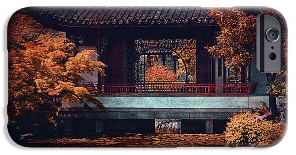 Balcony Digital Art iPhone Cases - Dr. Sun Yat-Sen Garden iPhone Case by Maria Angelica Maira