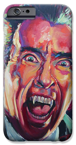 Celebrities Art iPhone Cases - Dracula - Christoper Lee iPhone Case by Tachi Pintor