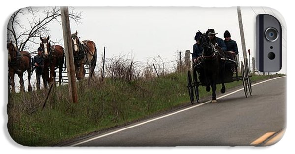 Amish Community iPhone Cases - Draft Horses and Amish iPhone Case by R A W M