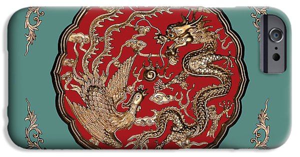 Dragon iPhone Cases - Dragon and Phoenix iPhone Case by Kristin Elmquist