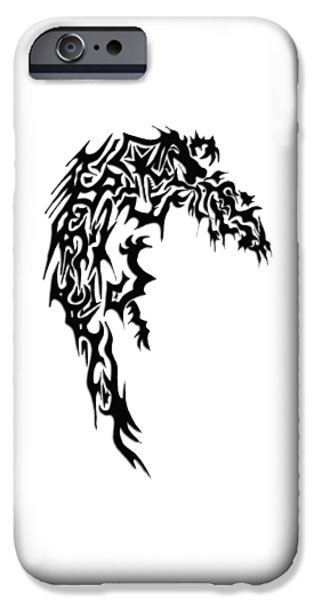 Abstract Digital Drawings iPhone Cases - Dragon iPhone Case by AR Teeter