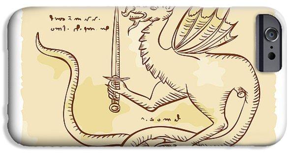 Serpent iPhone Cases - Dragon Holding Sword Etching iPhone Case by Aloysius Patrimonio