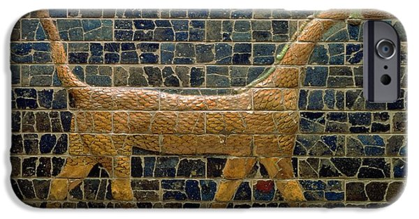 Myth iPhone Cases - Dragon of Marduk - On the Ishtar Gate iPhone Case by Anonymous