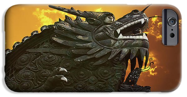 Mythical Creatures iPhone Cases - Dragon Wall - Yu Garden Shanghai iPhone Case by Christine Till