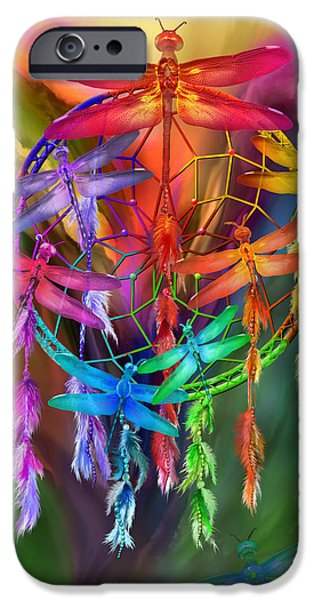 Dreamcatcher iPhone Cases - Dragonfly Dreams iPhone Case by Carol Cavalaris
