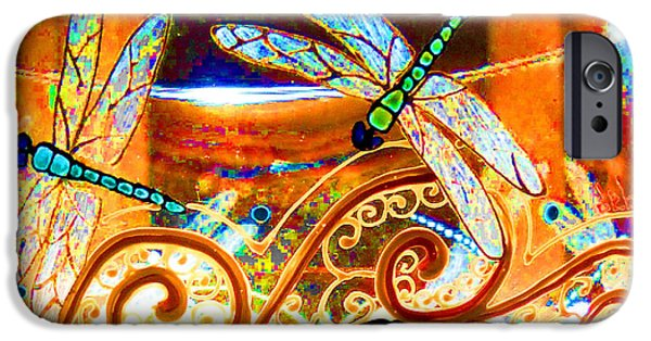 Vivid Glass iPhone Cases - Dragonfly Fantasy Sky iPhone Case by Deborah jordan Sackett