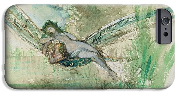 Myth iPhone Cases - Dragonfly iPhone Case by Gustave Moreau