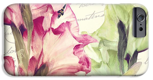 Gladiolas iPhone Cases - Dragonfly Morning I iPhone Case by Mindy Sommers