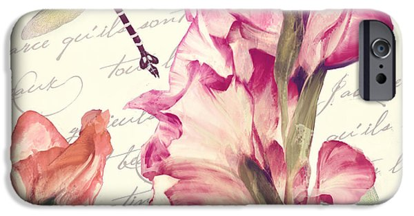 Gladiolas iPhone Cases - Dragonfly Morning II iPhone Case by Mindy Sommers