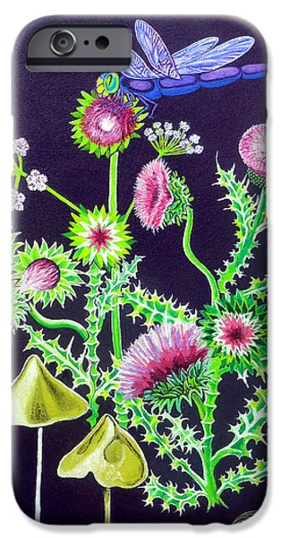 Shower Curtain iPhone Cases - Dragonfly Thistle and Snail iPhone Case by Genevieve Esson