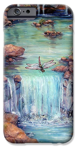 Waterscape Paintings iPhone Cases - Dragonflys Dream iPhone Case by Tanja Ware