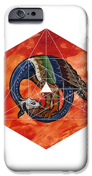 Serpent iPhone Cases - Dragonometry iPhone Case by Terry Fleckney