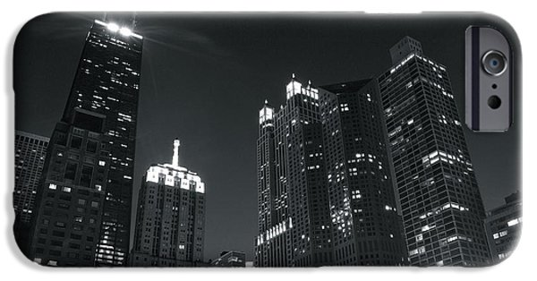 Chicago Cubs iPhone Cases - Drake Hotel Black and White Night iPhone Case by Frozen in Time Fine Art Photography