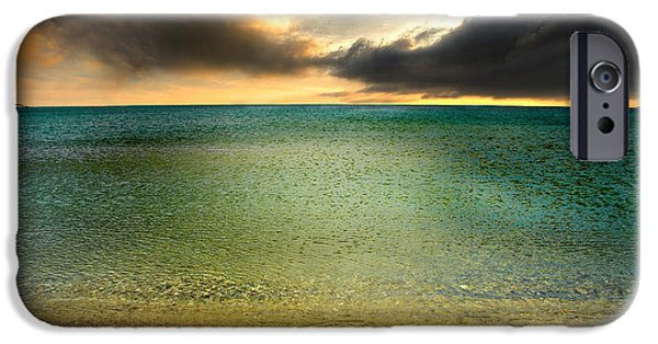Headland iPhone Cases - Drama At The Beach iPhone Case by Meirion Matthias
