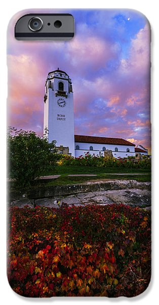 Unique View iPhone Cases - Dramatic Autumn Sunrise at Boise Depot in Boise Idaho iPhone Case by Vishwanath Bhat