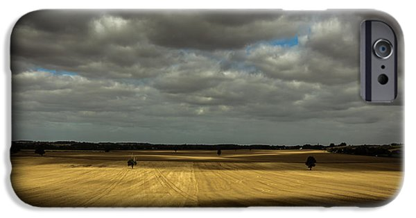 Dappled Light Photographs iPhone Cases - Dramatic farmland iPhone Case by Chris Fletcher