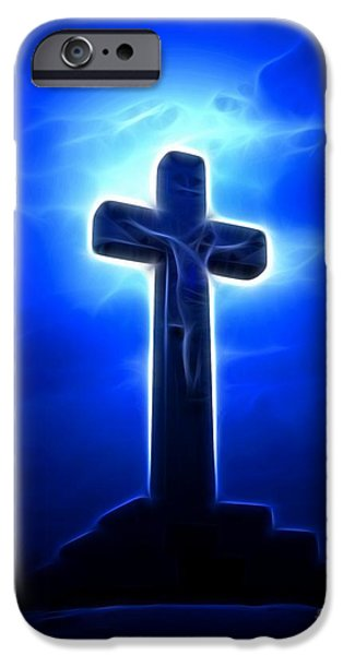 The Church Mixed Media iPhone Cases - Dramatic Jesus Crucifixion iPhone Case by Pamela Johnson