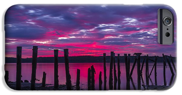 Maine iPhone Cases - Dramatic Maine Sunrise iPhone Case by John Vose