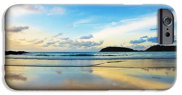 Nature Scene Photographs iPhone Cases - Dramatic Scene Of Sunset On The Beach iPhone Case by Setsiri Silapasuwanchai
