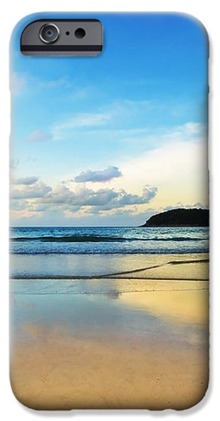 dramatic scene of sunset on the beach iPhone Case by Setsiri Silapasuwanchai