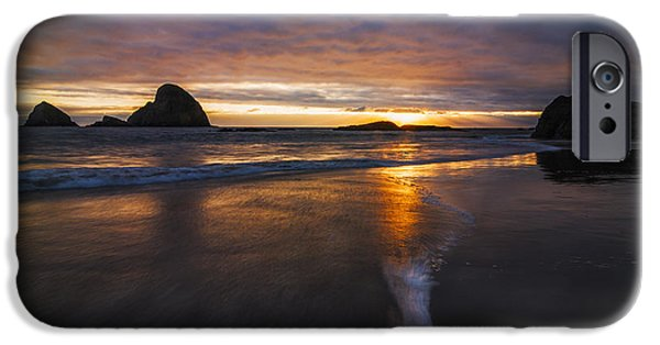 Reflections Of Sun In Water iPhone Cases - Dramatic Sunset at Ocean Side Beach iPhone Case by Vishwanath Bhat