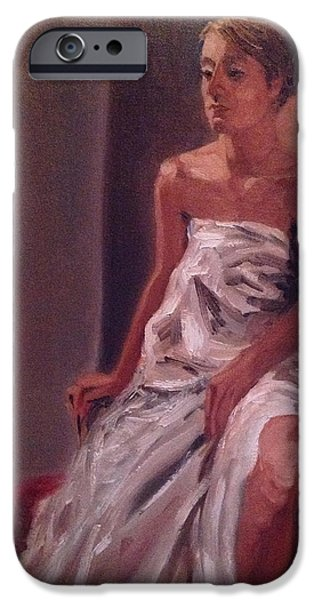 Sheets iPhone Cases - Draped Woman iPhone Case by Mary Marin