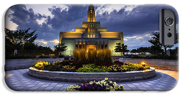 Night Angel iPhone Cases - Draper Mormon LDS Temple - Utah iPhone Case by Gary Whitton