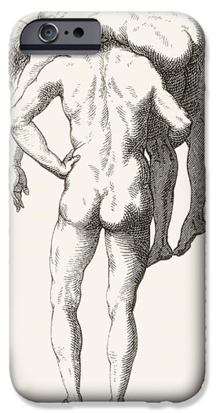 Figures iPhone Cases - Drawing By Luca Signorelli Of Back View iPhone Case by Ken Welsh