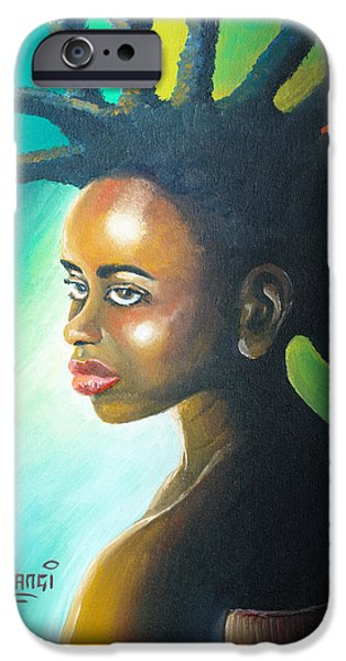 Young Paintings iPhone Cases - Dreadlocks Rasta iPhone Case by Anthony Mwangi