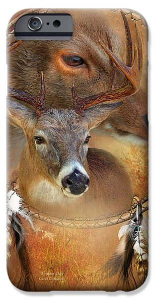 Autumn Scenes iPhone Cases - Dream Catcher - Autumn Deer iPhone Case by Carol Cavalaris