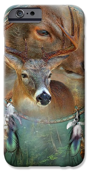 Nature Art Print iPhone Cases - Dream Catcher - Spirit Of The Deer iPhone Case by Carol Cavalaris